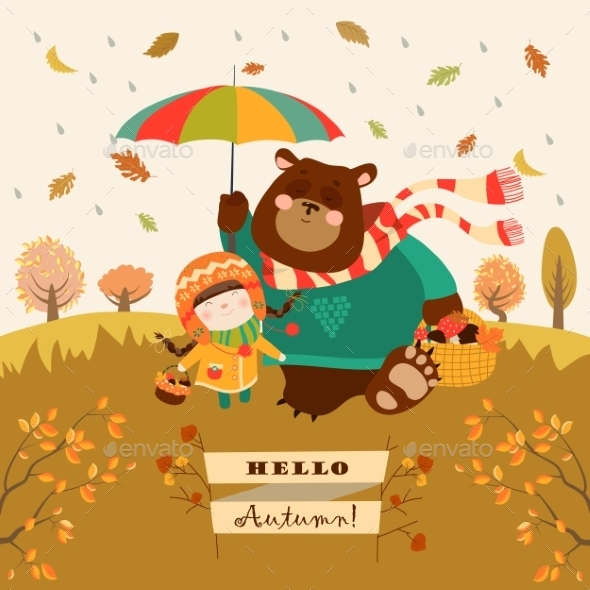 Girl and Bear Walking Under an Umbrella