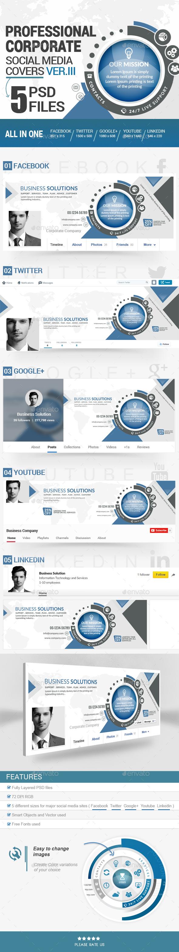 Social Media Covers Kit - III - Social Media Web Elements