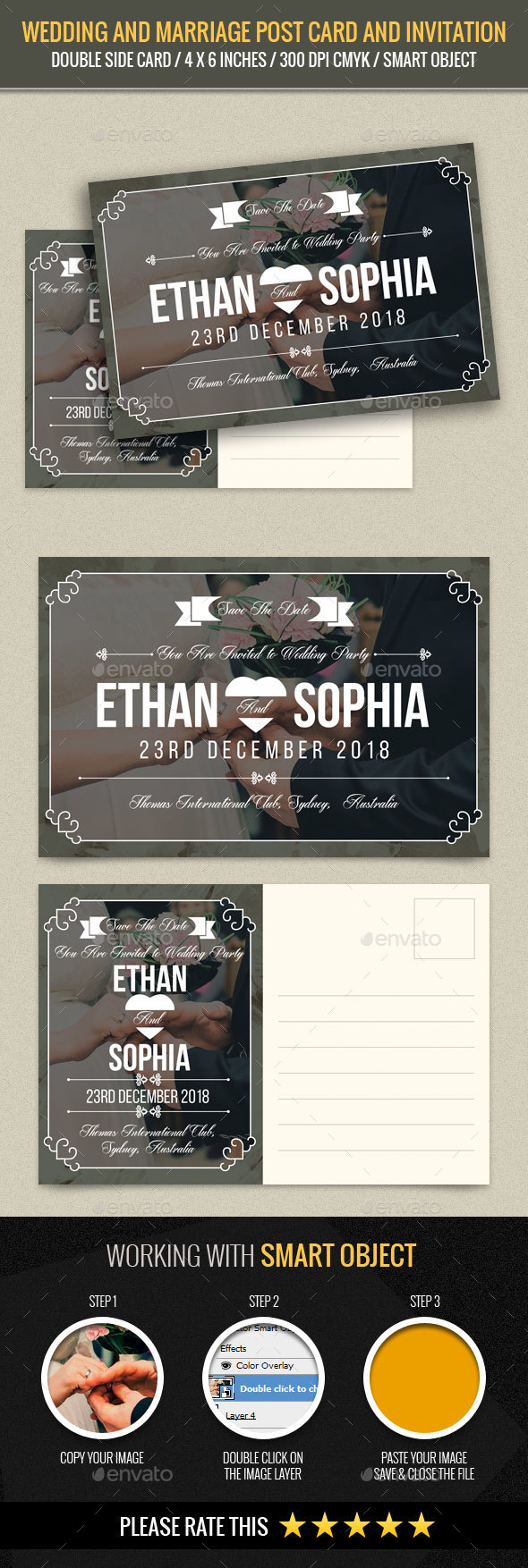 Wedding and Marriage Post Card Template - Weddings Cards & Invites