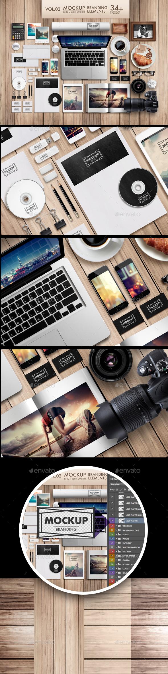 Branding Elements Vol 02 - Product Mock-Ups Graphics