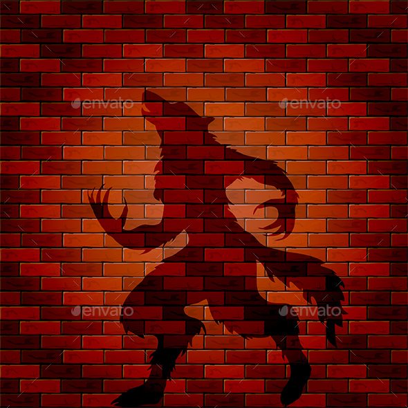 Shadow of Werewolf on a Brick Wall - Halloween Seasons/Holidays