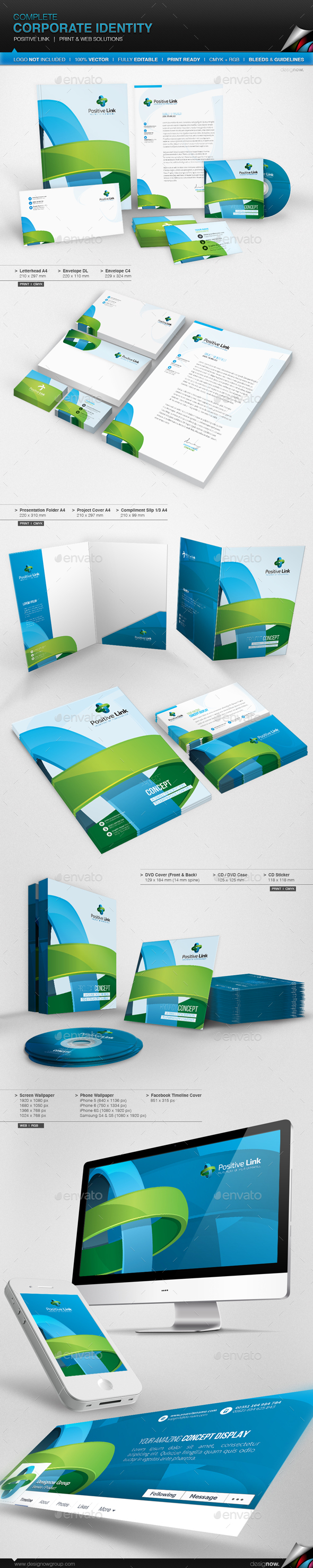 Corporate Identity - Positive Link - Stationery Print Templates