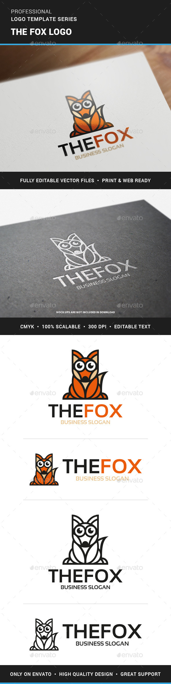 The Fox Logo Template - Animals Logo Templates
