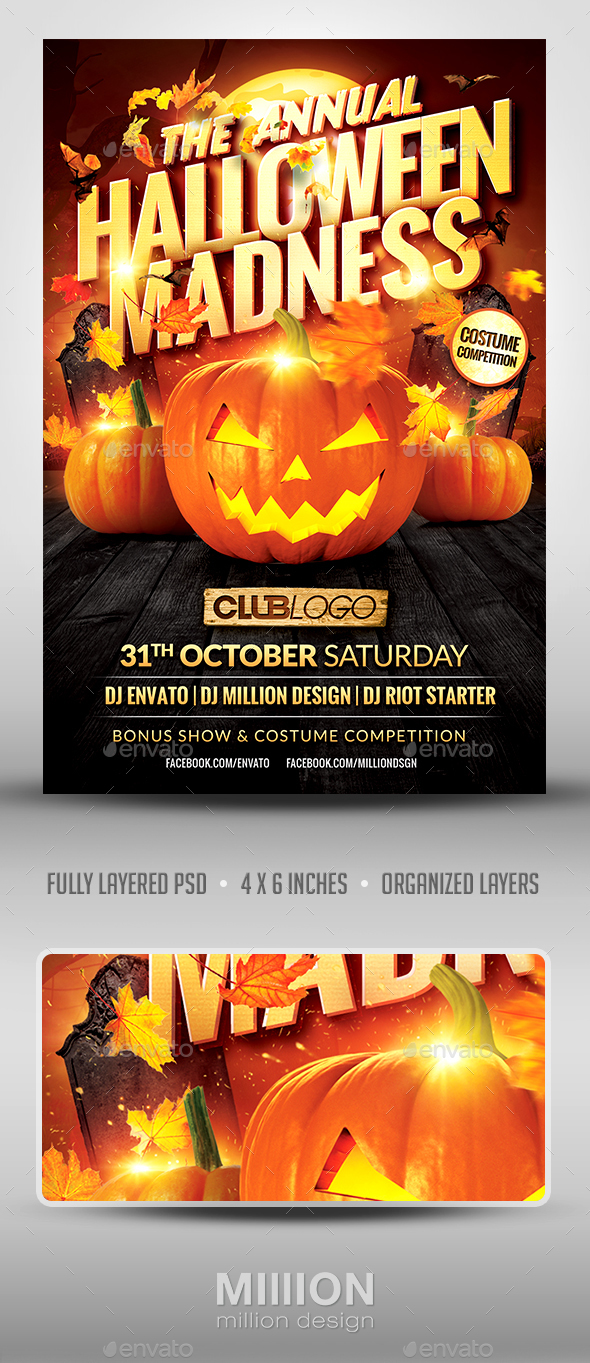 Halloween Madness Flyer Template - Clubs & Parties Events