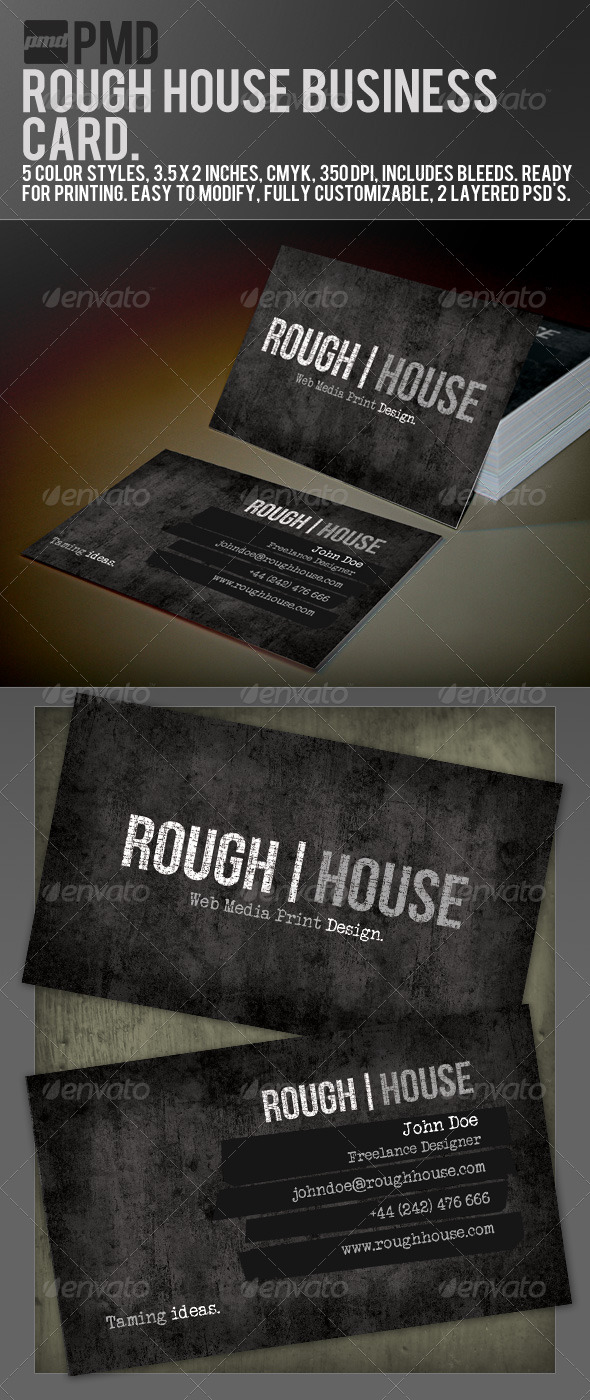Pmd rough house grunge business card by phatmandesign graphicriver pmd rough house grunge business card business cards print templates reheart Choice Image