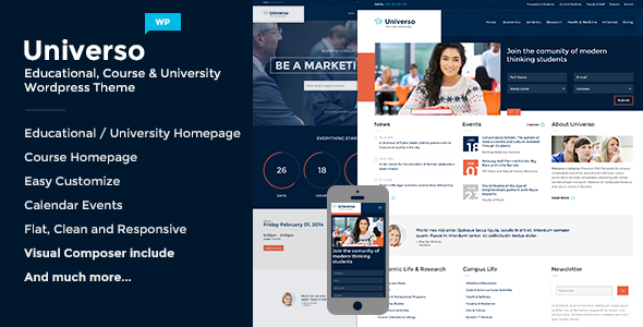 Universo - Powerful Education, Courses & Events - Education WordPress