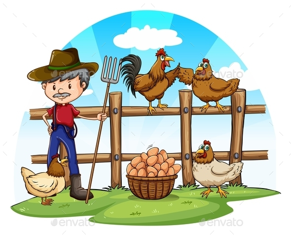 Chicken Farmer with Eggs - People Characters