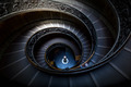 Long spiral, winding stairs. Dark shadows, soft light. - PhotoDune Item for Sale