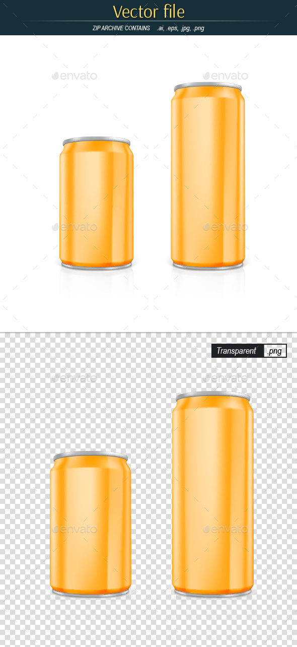Drink Cans Yellow Color Editable Vector - Objects Vectors