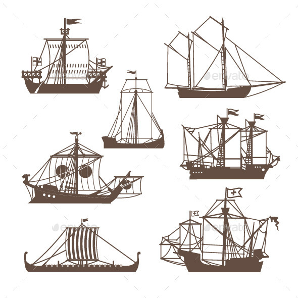 Set of Vintage Sailing Ships - Decorative Symbols Decorative