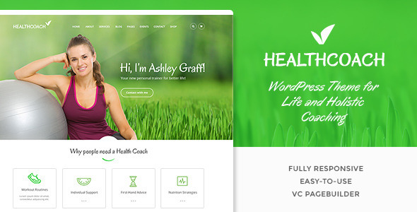 Health Coach Life Coach WordPress theme for Personal Trainer