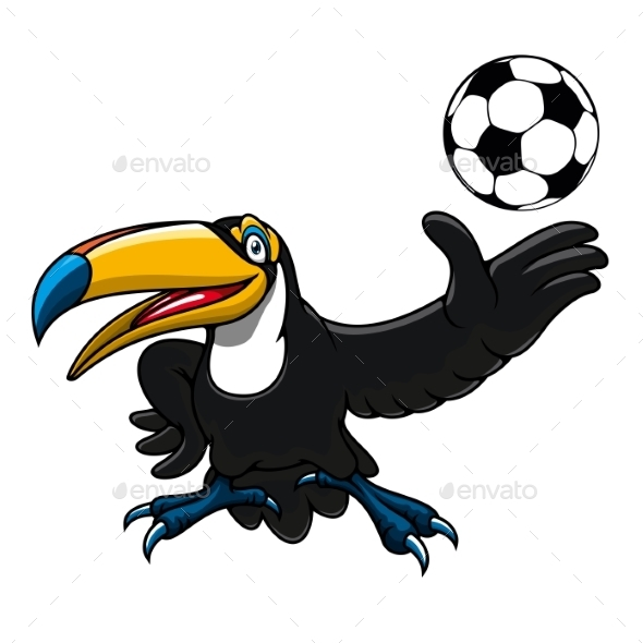 Cartoon Toucan Bird Player With Ball - Animals Characters