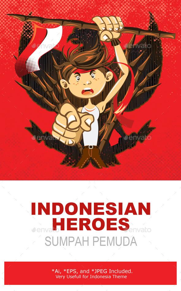 Indonesian National Heroes Patriot Warrior - People Characters