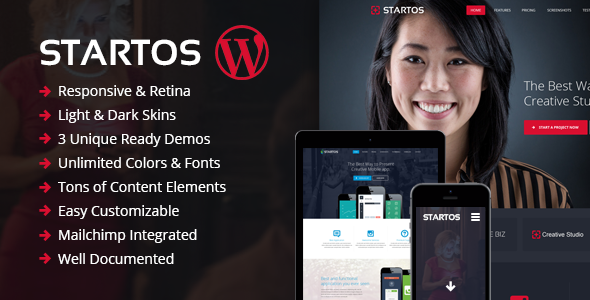 Startos - Modern App Landing Page WordPress Theme - Marketing Corporate