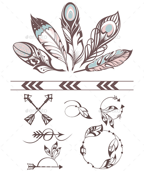 Illustration with Feathers - Decorative Symbols Decorative