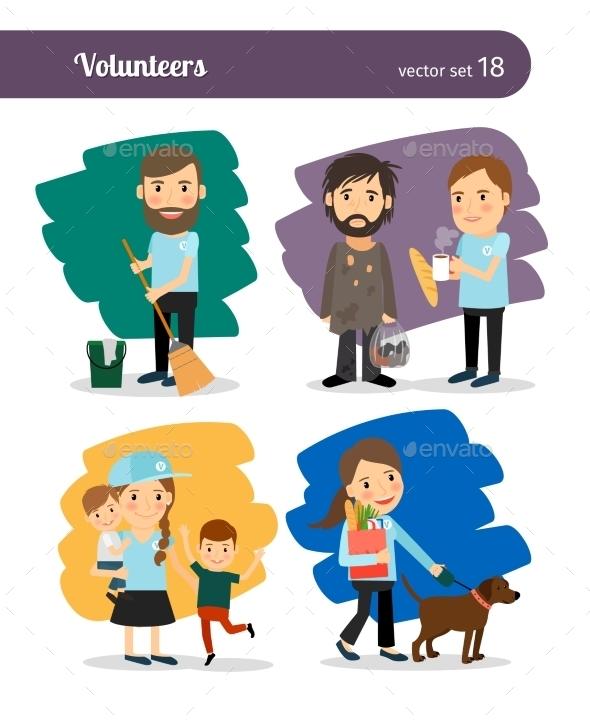 Volunteers Characters - People Characters