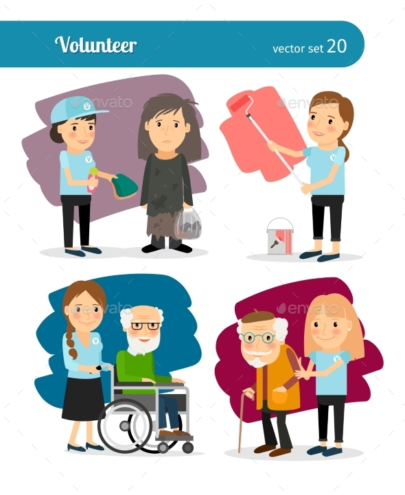 Woman Volunteer Characters - People Characters