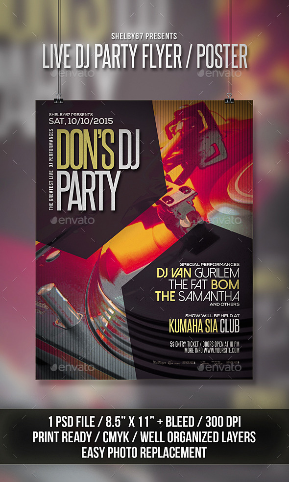 Live DJ Party Flyer / Poster - Clubs & Parties Events