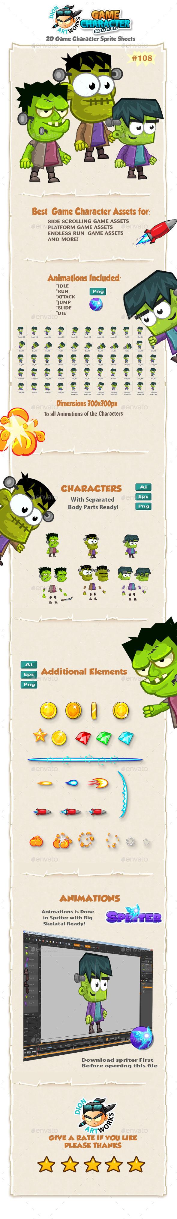 Frankenstein 2D Game Character Sprites 108 - Sprites Game Assets