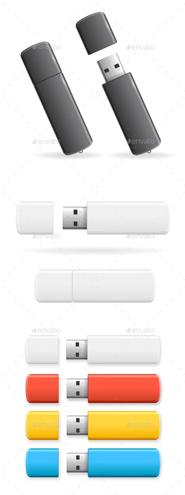 USB Flash Drive Colorful Set. Vector - Objects Vectors