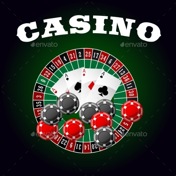 Casino Icon With Four Aces, Chips And Roulette - Conceptual Vectors