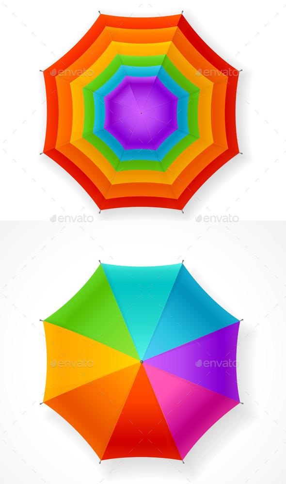 Autumn Umbrella Rainbow Set. Vector - Objects Vectors