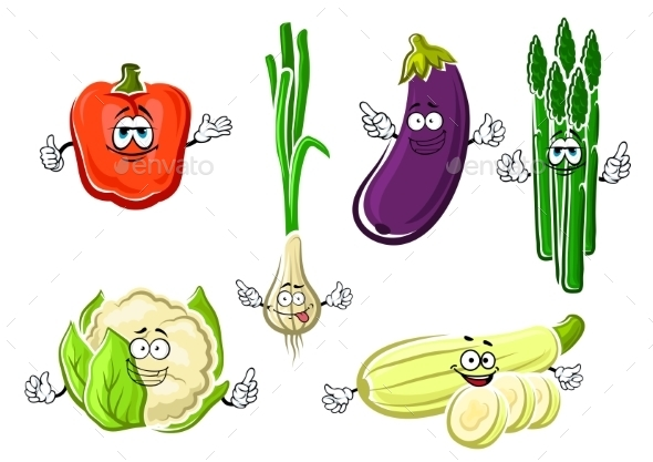 Cartoon Happy Organic Vegetable Characters