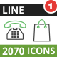 2070 Vector Green & Black Line Icons - GraphicRiver Item for Sale