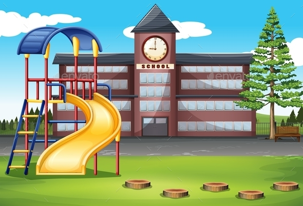 School Campus with Playground - Miscellaneous Conceptual