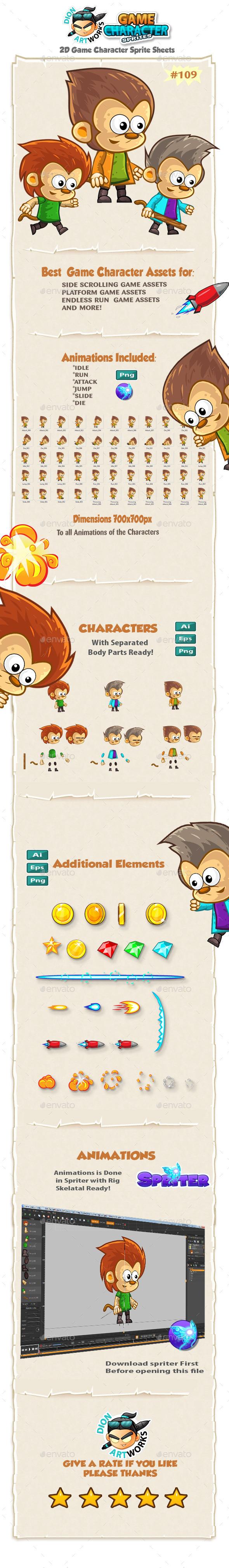 Monkeys 2D Game Character Sprites 109 - Sprites Game Assets