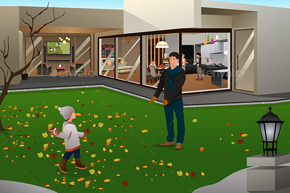 Father Son Playing Football on Thanksgiving - Seasons/Holidays Conceptual