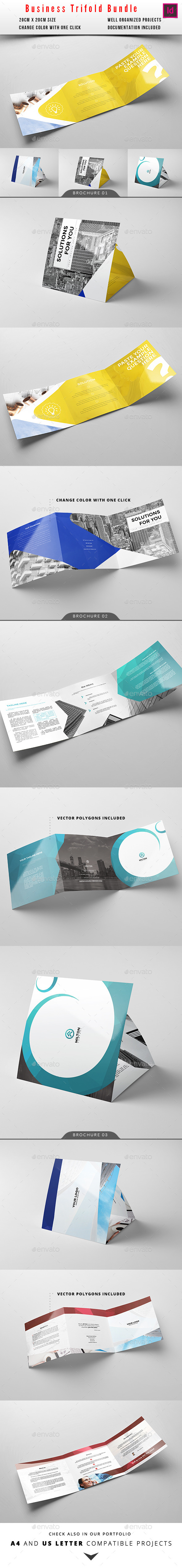 Square Trifold Business Brochure Bundle - Corporate Brochures
