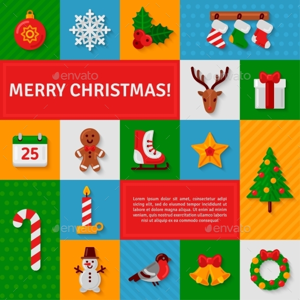 Merry Christmas Flat Icons With Shadow