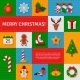 Merry Christmas Flat Icons With Shadow.  - GraphicRiver Item for Sale