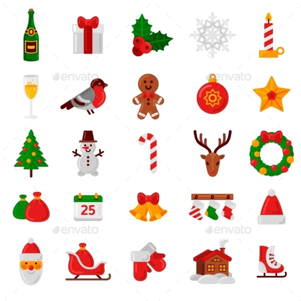 Set Of Flat Christmas Icons. - Christmas Seasons/Holidays