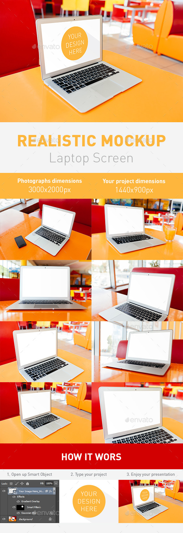 Realistic Laptop Screen Mockup - 8 PSD Files  - Laptop Displays