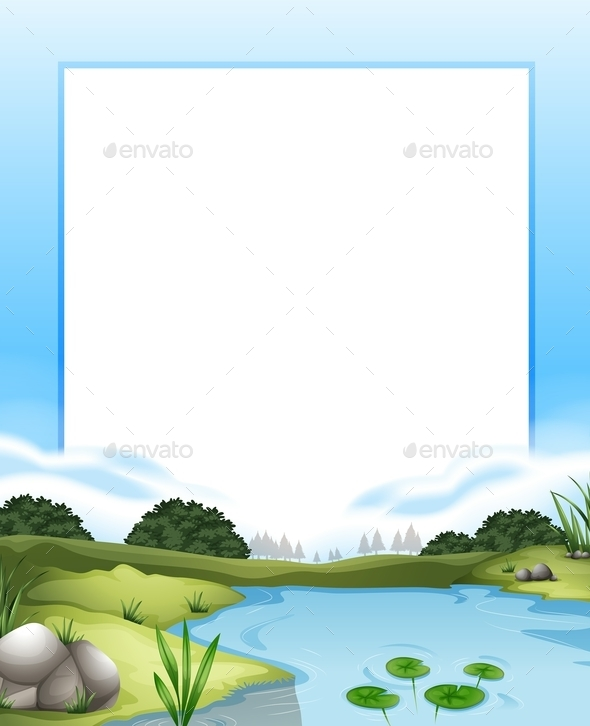 Border with River Scene Background