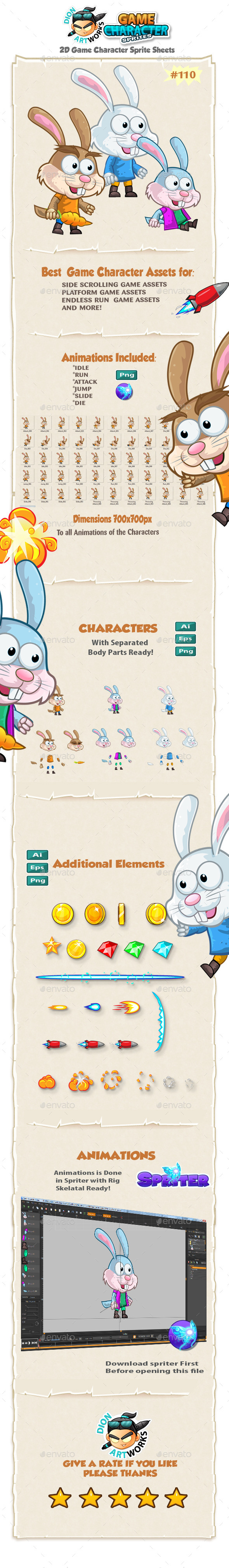 Rabbit 2D Game Character Sprites 110 - Sprites Game Assets