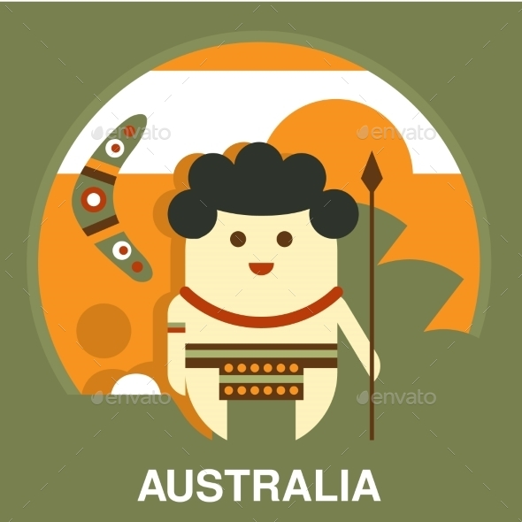 Australian Aborigine In Flat Style - People Characters