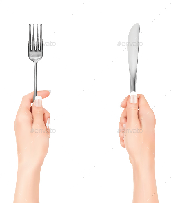 Hands Holding Fork and Knife