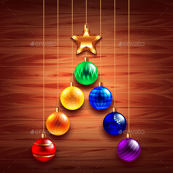 Christmas Tree from Balls on Wooden Background - Christmas Seasons/Holidays