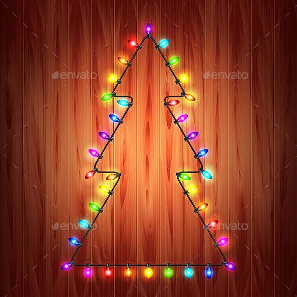 Christmas Lights as Fir Tree Holiday Concept
