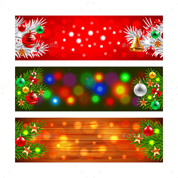 Christmas Banners with Decorated Fir-Tree Branches - Christmas Seasons/Holidays