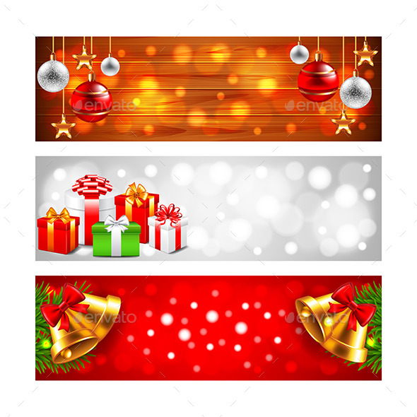 Christmas Banners with Balls Gift Boxes and Bells