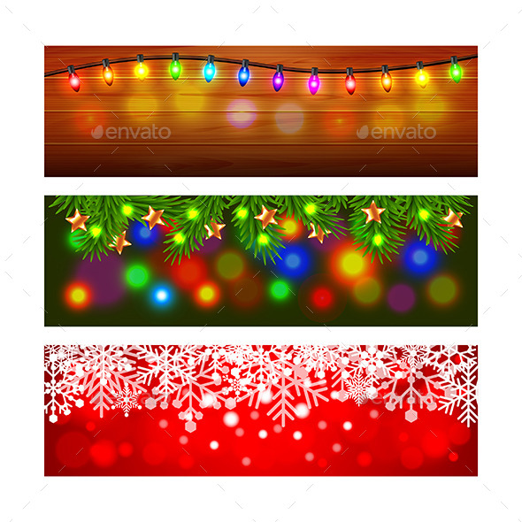 Christmas Banners with Lights Fir-Tree and Snowfla