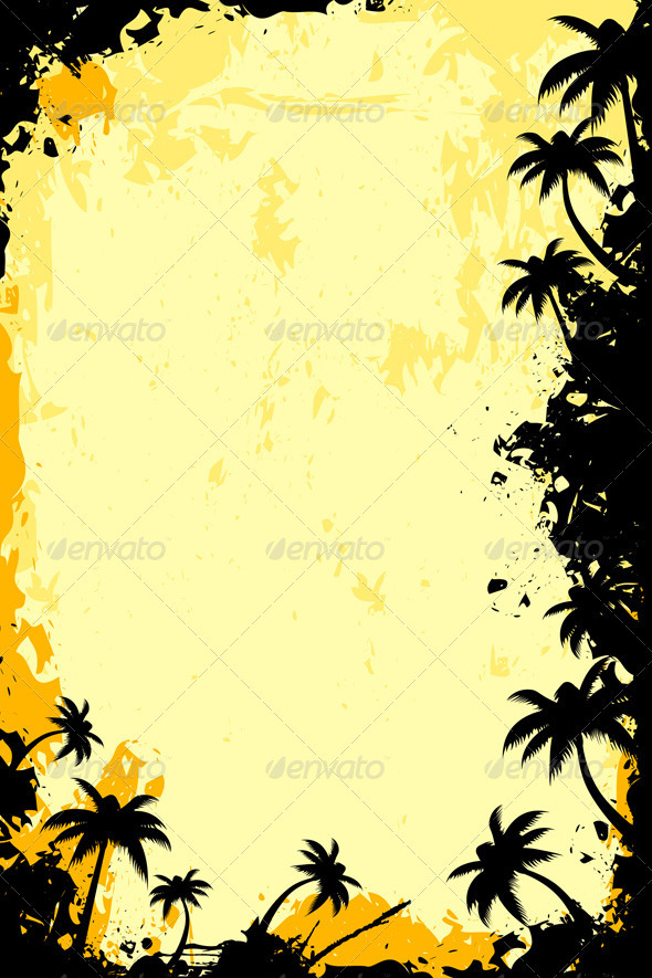Grunge Tropical Frame - Backgrounds Business