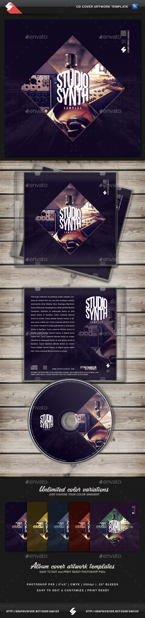 Studio Synth Samples - CD Cover Artwork Template - CD & DVD Artwork Print Templates