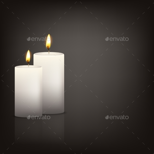 Vector Background With Two Candles - Man-made Objects Objects
