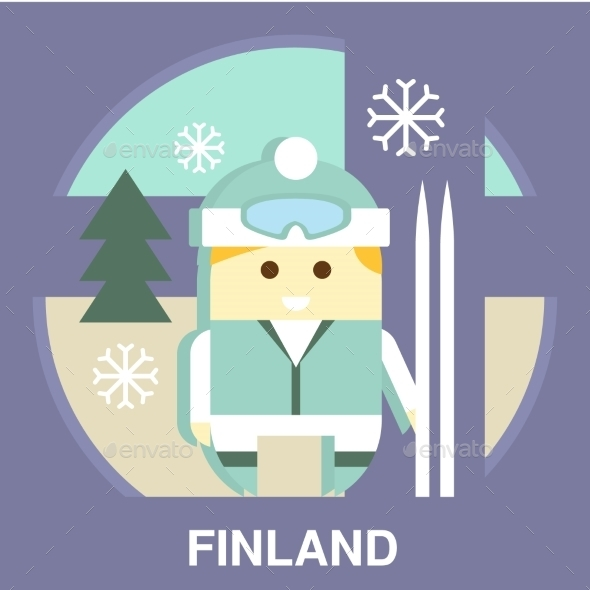 Finn With Ski Vector Illustration - People Characters
