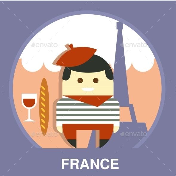 France Resident On Traditional Background Vector - People Characters